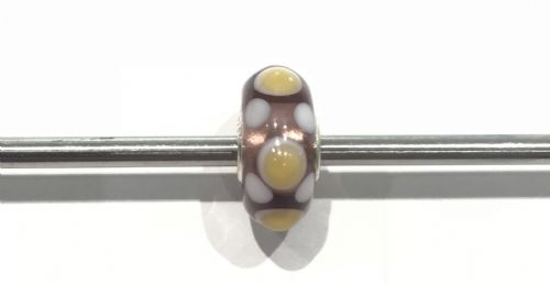 Trollbeads Unique Purple, Yellow And White Dotted Glass Bead U300